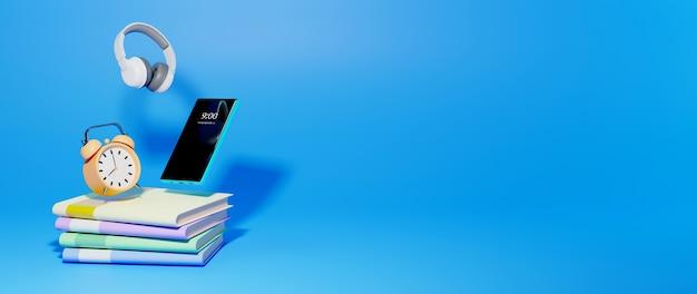 Цифровое онлайн-образование. 3d мобильного, книги об обучении по телефону, компьютеру. концепция социальной дистанции. классная интернет-сеть.
