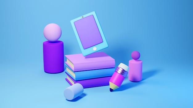 디지털 온라인 교육. 모바일, 전화, 컴퓨터 학습에 대한 책의 3d. 사회적 거리 개념. 교실 온라인 인터넷 네트워크.
