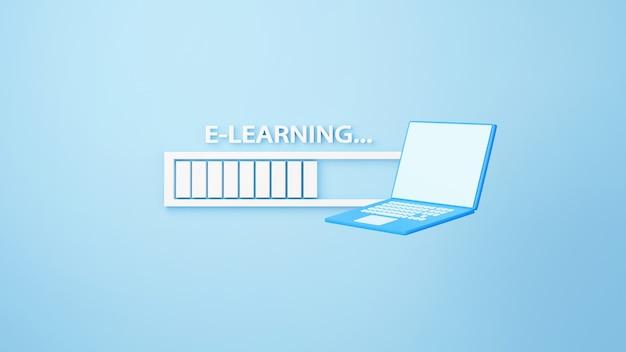デジタルオンライン教育。電話、コンピューターでの学習についてのノートブックとローディングバーアイコンの3d。社会的距離の概念。 classroomオンラインインターネットネットワーク。