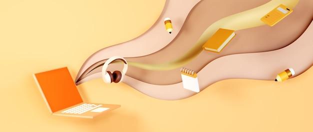 デジタルオンライン教育。電話、コンピューターでの学習に関するノートブックと文房具の3d。