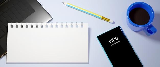 デジタルオンライン教育。電話、コンピューターでの学習についての教科書とモバイルの3d。