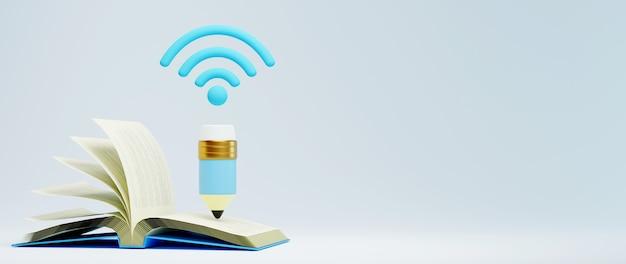 デジタルオンライン教育。 3dのwifi鉛筆と電話、コンピューターでの学習についての本。社会的距離の概念。 classroomオンラインインターネットネットワーク。