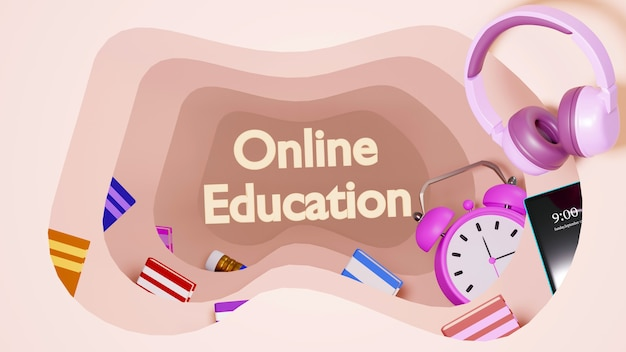 Цифровое онлайн-образование. 3d-рендеринг будильника и мобиля на оранжевой стене. есть учебники и книги для онлайн-обучения.