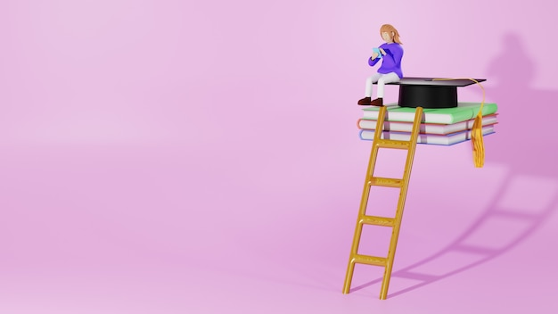 Digital online education. 3d of woman and mobile on books about learning on phone and computer.