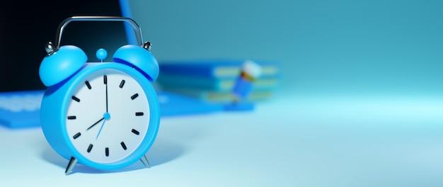 Цифровое онлайн-образование, будильник на синем