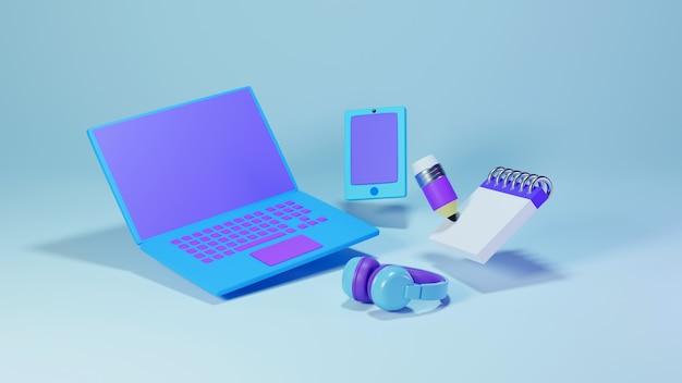 Цифровое онлайн-образование, минималистичный ноутбук и мобильный телефон на синем