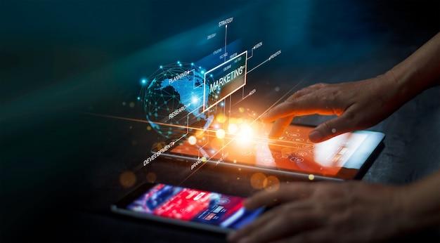 Digital online marketing man analysis sale data growth strategy investment financial