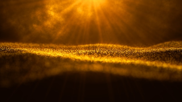 Digital particle wave and light abstract background