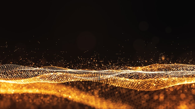 Digital particles gold color wave flow abstract background