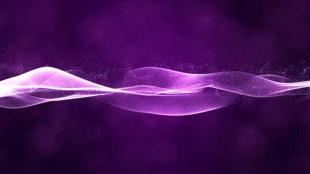 Digital particles wave flow with bokeh abstract background