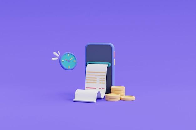 Цифровые платежи и концепция возврата наличных онлайн, телефон, плавающие монеты, часы. 3d визуализация.