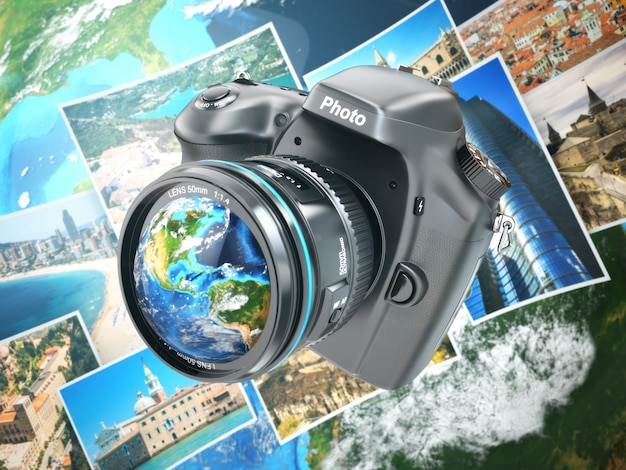 Digital photo camera on background from earth and photographs. 3d