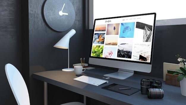 ポートフォリオコンピューターの3dレンダリングを備えたデジタル写真家のデスクトップ