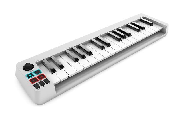 白い背景の上のデジタルピアノシンセサイザー。 3dレンダリング