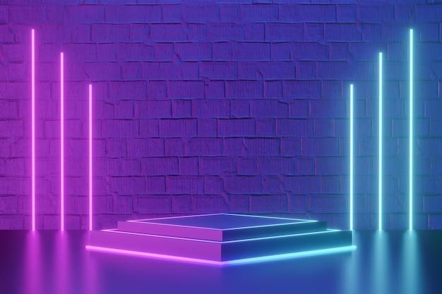 デジタル製品の背景。 ledライト付きの黒いブロックキューブ表彰台は、濃い青ピンクのレンガの背景に反射します。 3dイラストのレンダリング。