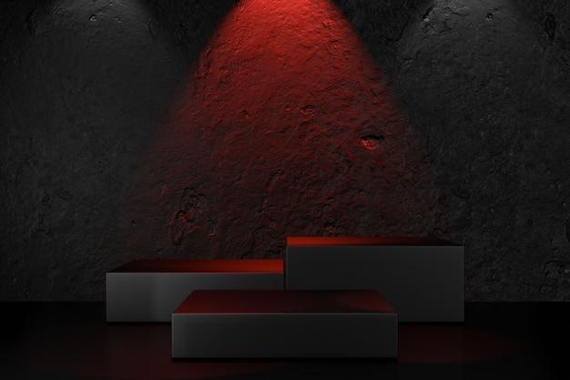 디지털 제품 배경입니다. 질감 콘크리트 검정색 배경에 검정색 블록 연단입니다. 3d 그림 렌더링입니다.