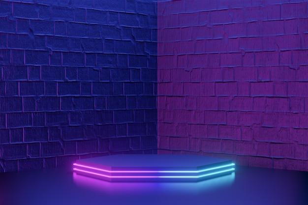디지털 제품 배경입니다. 짙은 파란색 분홍색 벽돌 배경에 led 조명이 있는 검은색 육각형 연단. 3d 그림 렌더링입니다.