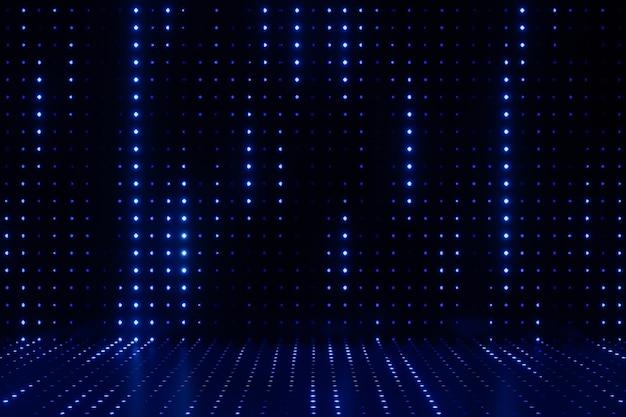 デジタル製品の背景。空白のledライトは、暗いドット効果の青い背景に反射します。 3dイラストのレンダリング。
