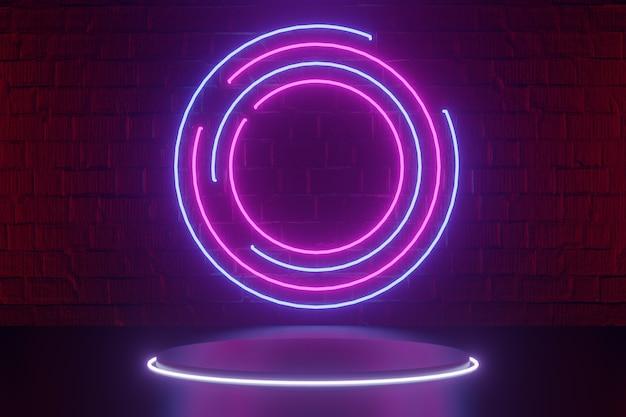 디지털 제품 배경입니다. 원형 조명과 led 조명 원형 링이 있는 검은색 원형 실린더 연단은 어두운 붉은 벽돌 배경에 반영됩니다. 3d 그림 렌더링입니다.