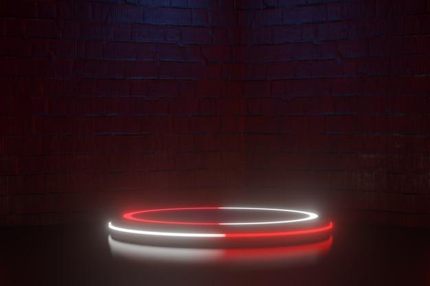 디지털 제품 배경입니다. led 라이트 서클 링이 있는 실린더 연단은 어두운 붉은 벽돌 배경에 반영됩니다. 3d 그림 렌더링입니다.