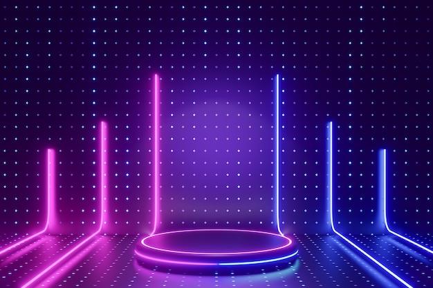 デジタル製品の背景。ラインledライトの列を持つグローシリンダー表彰台は、暗いドット効果の青い背景に反射します。 3dイラストのレンダリング。