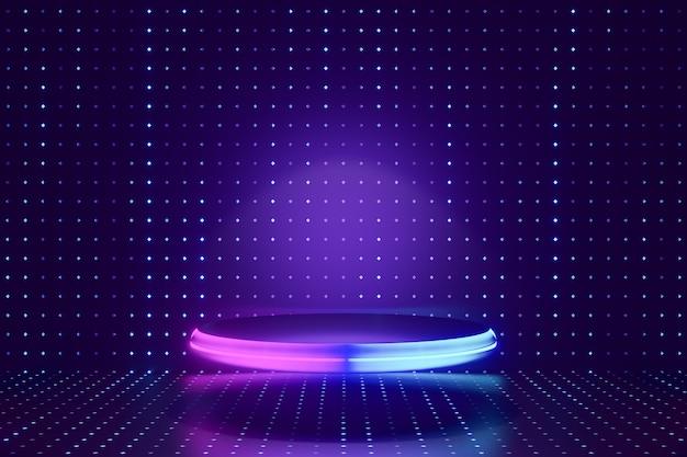 デジタル製品の背景。 ledライト付きのグローガラスシリンダー表彰台は、暗いドット効果の青い背景に反射します。 3dイラストのレンダリング。