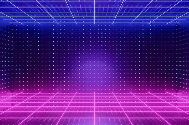 デジタル製品の背景。グローグリッドライトパースペクティブラインledライトは、ダークドット効果のピンクブルーの背景に反射します。 3dイラストのレンダリング。