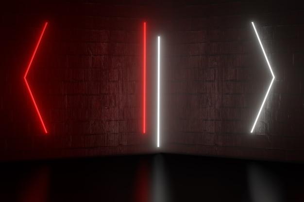 디지털 제품 배경입니다. 그래픽 빨간색 흰색 빛은 어두운 붉은 벽돌 배경에 반영됩니다. 3d 그림 렌더링입니다.