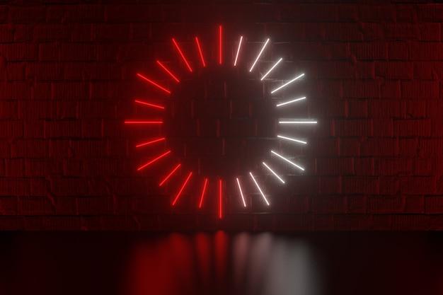 디지털 제품 배경입니다. 그래픽 빨간색 흰색 타원형 조명은 어두운 붉은 벽돌 배경에 반영됩니다. 3d 그림 렌더링입니다.