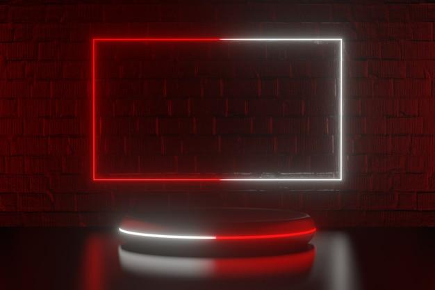디지털 제품 배경입니다. 그래픽 빨간색 흰색 사각형 프레임 조명과 검은색 연단은 어두운 빨간색 벽돌 배경에 반영됩니다. 3d 그림 렌더링입니다.