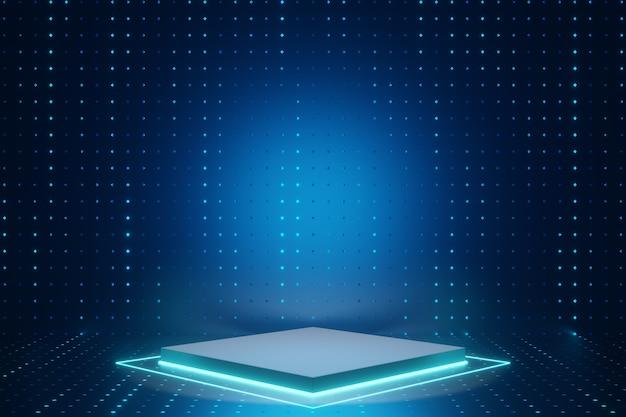 デジタル製品の背景。 ledライト付きのシルバーブロック表彰台は、暗いドット効果の青い背景に反射します。 3dイラストのレンダリング。