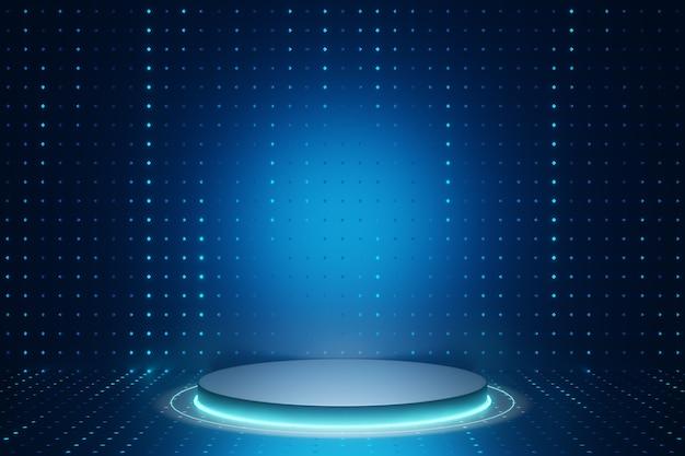 デジタル製品の背景。 ledライト付きの銀色のシリンダー表彰台は、暗いドット効果の青い背景に反射します。 3dイラストのレンダリング。