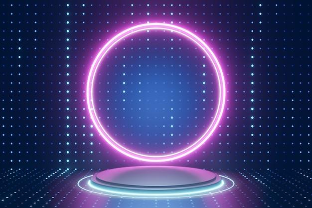 デジタル製品の背景。ピンクの円のledライトが付いたシルバーのシリンダー表彰台は、暗いドット効果の青い背景に反射します。 3dイラストのレンダリング。