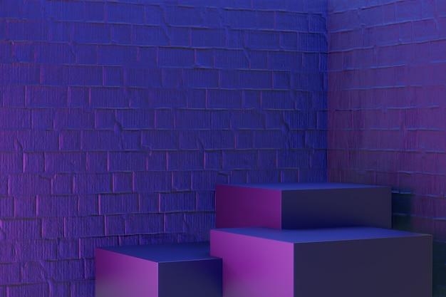 디지털 제품 배경입니다. 3개의 검은색 블록 연단은 진한 파란색 분홍색 벽돌 배경에 반영됩니다. 3d 그림 렌더링입니다.