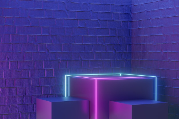 디지털 제품 배경입니다. led 라이트 와이어프레임이 있는 3개의 검정 블록 연단은 진한 파란색 분홍색 벽돌 배경에 반영됩니다. 3d 그림 렌더링입니다.