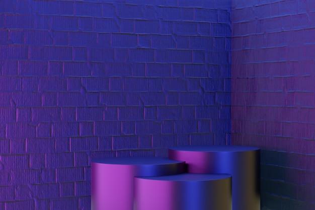 디지털 제품 배경입니다. 3개의 검정 실린더 연단은 진한 파란색 분홍색 벽돌 배경에 반영됩니다. 3d 그림 렌더링입니다.