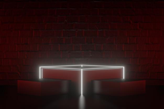 디지털 제품 배경입니다. led 조명이 있는 3블록 검정 연단은 어두운 붉은 벽돌 배경에 반사됩니다. 3d 그림 렌더링입니다.