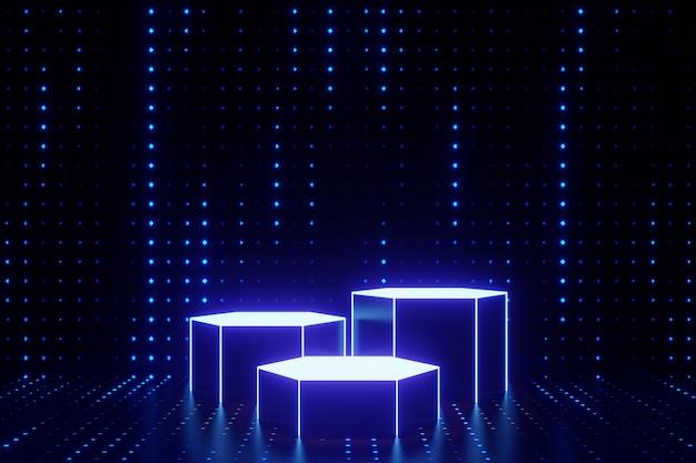 デジタル製品の背景。 ledライト付きの3つのグロー六角形の表彰台は、暗いドット効果の青い背景に反射します。 3dイラストのレンダリング。