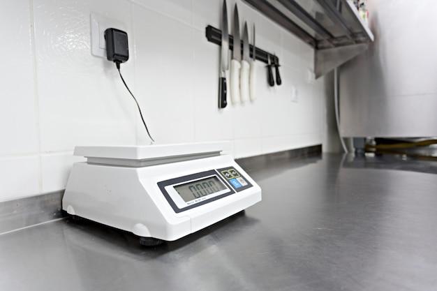 Digital scales in a restaurant kitchen