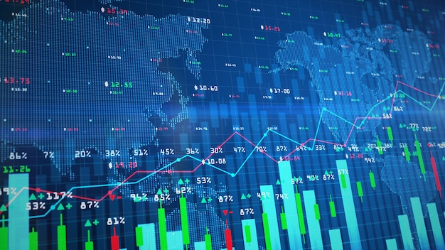 Digital stock exchange market chart or forex trading graph and candlestick chart suitable for financial investment
