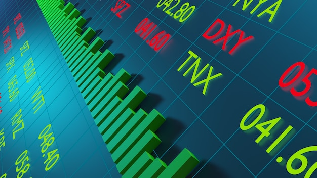 Digital of stock market prices changing