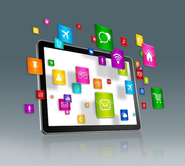Цифровой планшет и летающие значки приложений