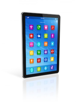 Digital tablet computer, apps icons interface