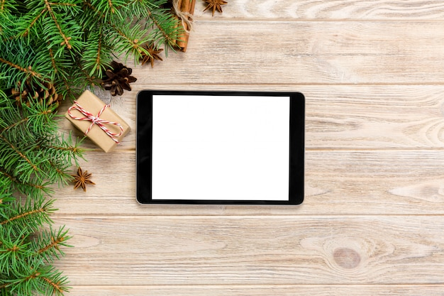 Digital tablet mock up with rustic christmas wood