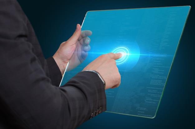 女性の手でデジタルタブレットのモックアップ