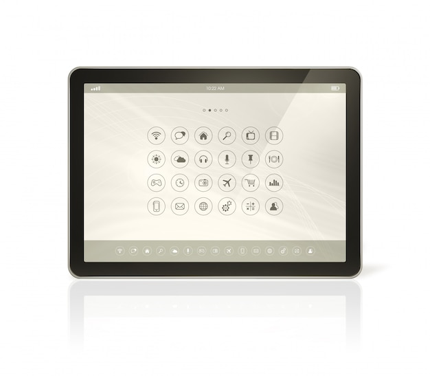 Digital tablet pc with apps icons interface