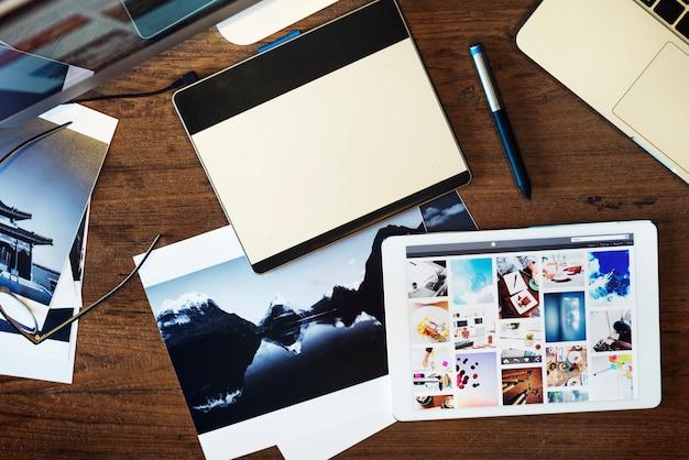 Digital tablet photography studio editing concept