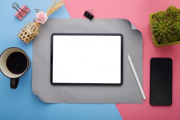 Digital tablet screen on workspace