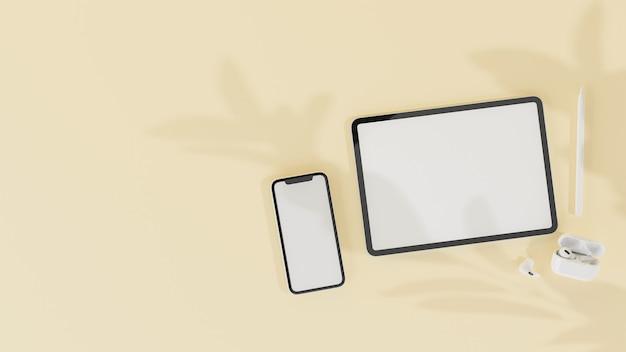 黄色のパステルカラーで分離されたモックアップ画面とアクセサリを備えたデジタルタブレットスマートフォン