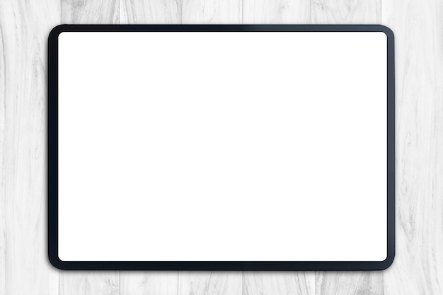 Digital tablet with blank screen on white